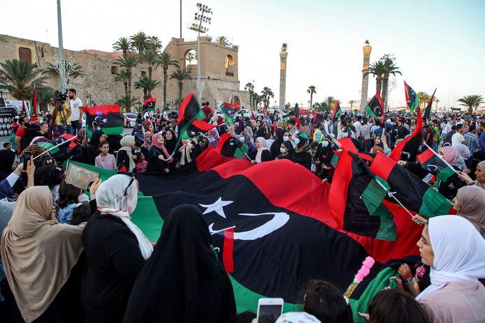 Straatbeeld uit de Libische plaats Tarhouna