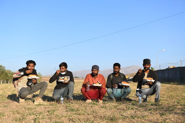Een groep Afghaanse migranten in de Turkse provincie Van, eind juli.  Beeld Ali Ihsan Ozturk/Brunopress