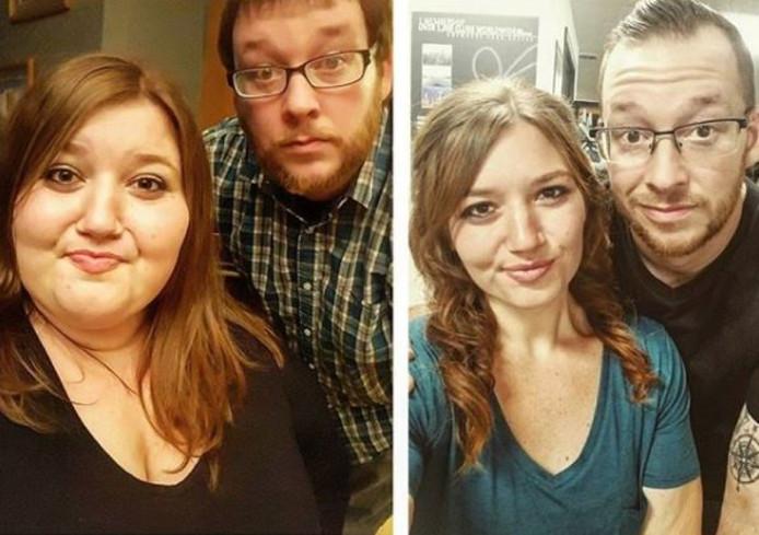 Lexi en Danny twee jaar geleden (links) en nu.
