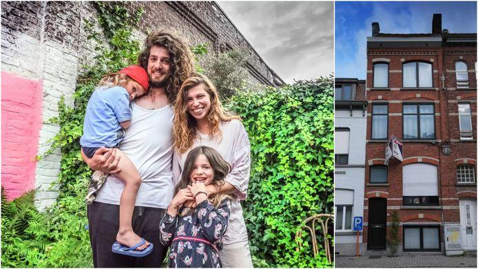 Harry en Jerina, met kinderen Fidel en Onno. Rechts het huis dat ze gekocht hebben, in Kortrijk