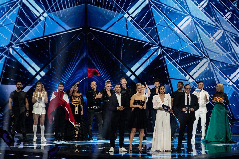 De finalisten uit de halve finale van het Eurovisiesongfestival, 2019. Beeld Getty Images