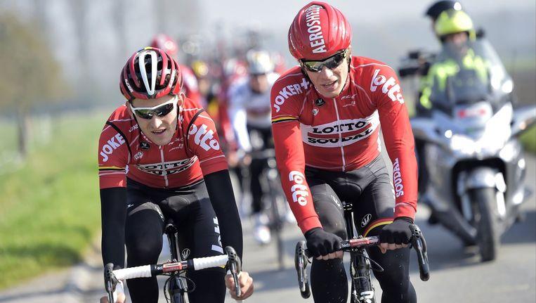 Tiesj Benoot (l) en Jurgen Roelandts (r), speerpunten van Lotto-Soudal Beeld PHOTO_NEWS