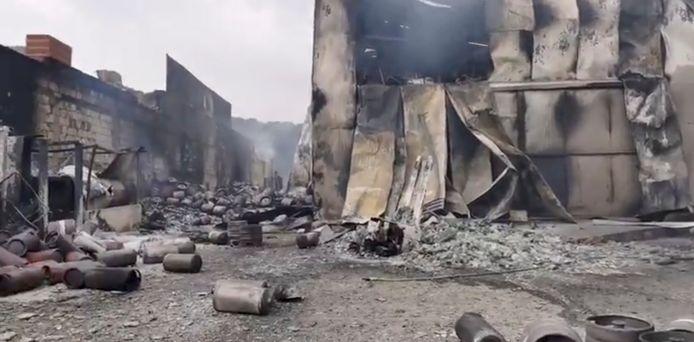 De nasleep van een brand in de buurt van Cuglieri, Sardinië, Italië.