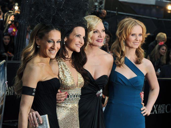 De oorspronkelijke cast van links naar rechts: Sarah Jessica Parker, Kristin Davis, Kim Cattrall en Cynthia Nixon