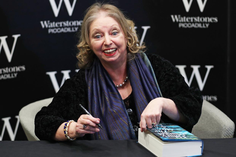 Hilary Mantel tijdens de boekpresentatie van 'The Mirror and the Light' in Londen.