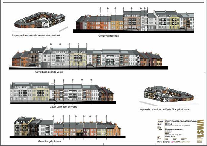 De gevels van de zestig wooneenheden in Blok 25 passen in de stijl van De Veste.