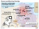 Een overzicht van de zwaarste aardbevingen in gasveld Groningen sinds 2012.