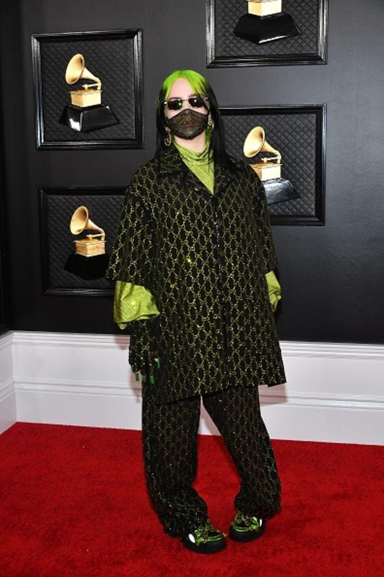 Popster Billie Eilish op de 62ste uitreiking van de Grammy Awards, 26 januari, in Los Angeles. Beeld Getty Images