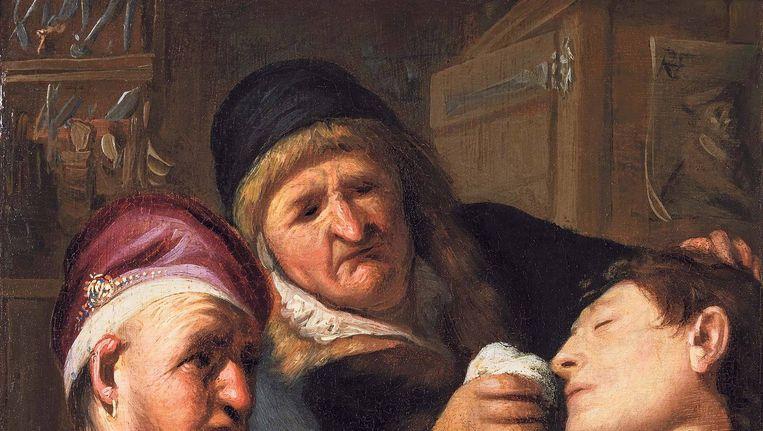 Op het schilderij helpen een arts en zijn assistent een patiënt bij te komen Beeld TEFAF