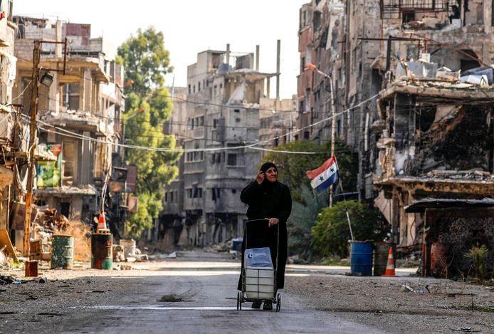 Het verwoeste Yarmouk, waar vooral Palestijnse vluchtelingen woonden. Het gebied werd zwaar bestookt door het regeringsleger in hun jacht op gewapende groepen. De foto is genomen in december 2020.