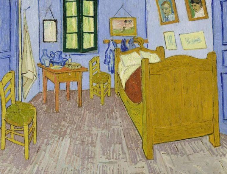 Boven: het schilderij dat Roy Lichtenstein baseerde op het schilderij De Slaapkamer van Vincent van Gogh. Beeld Vincent van Gogh, 1988