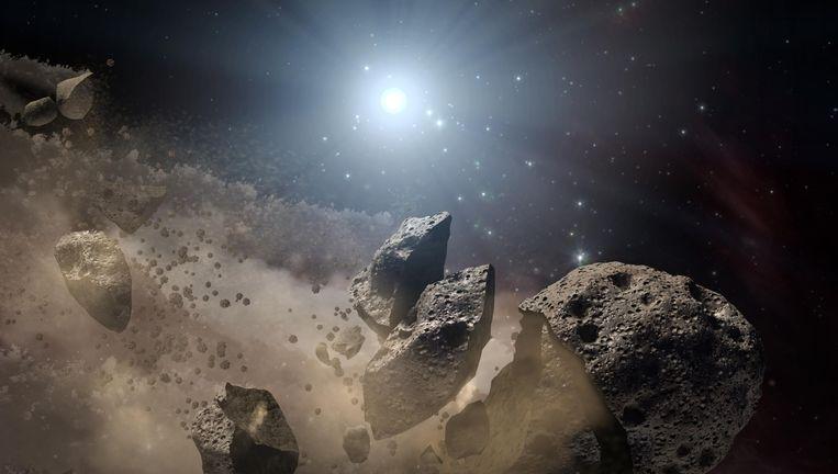 Een artist's impression van NASA van een ontplofte planetoïde. Beeld Reuters