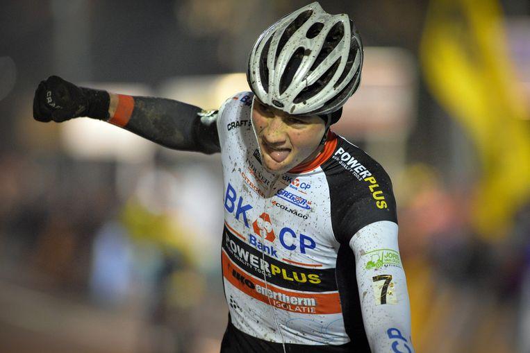 Mathieu van der Poel wint de Superprestige in Diegem. Beeld belga