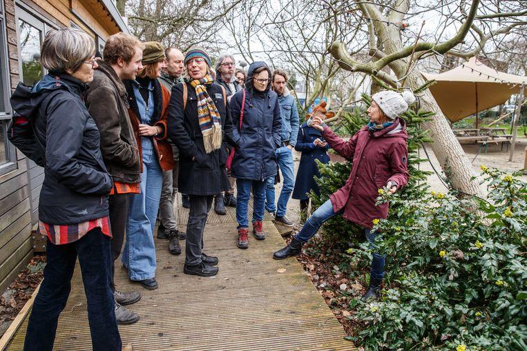 Natuurgids Marjolein Themmen leert de deelnemers van de workshop 'Voedselbosjes' de eerste kneepjes van het 'vak'. Beeld Tim Hillege