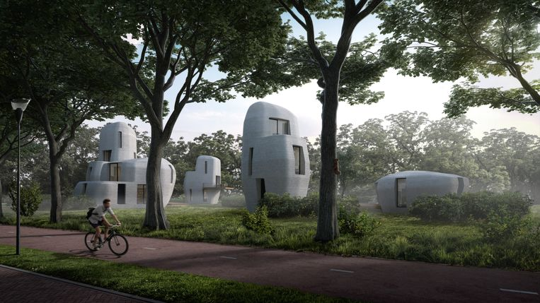 3D-geprinte woningen verrijzen vanaf volgend jaar in de Eindhovense wijk Meerhoven. Beeld TU/e