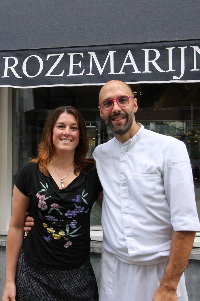 Jeroen Raes en Maaike Steins voor hun restaurant Rozemarijn in Maastricht.