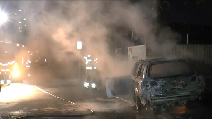 Grote autobrand in Leidsche Rijn