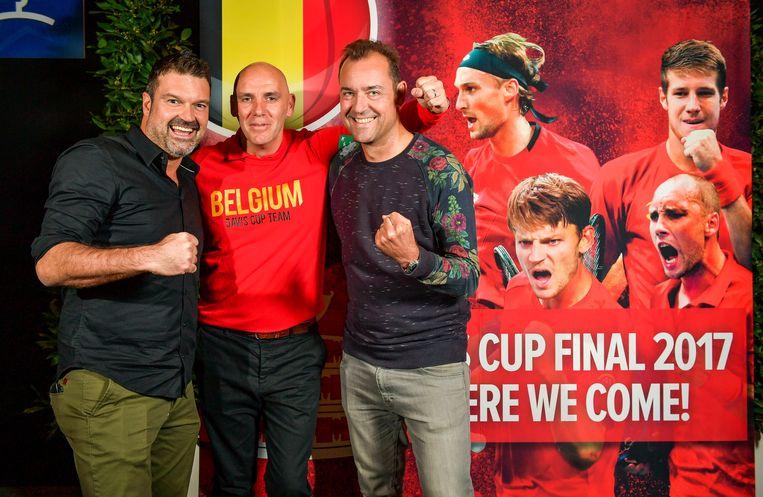 De helden uit 1997: (v.l.n.r.) Christophe Van Garsse, Johan Van Herck en Filip Dewulf. Beeld Photo News