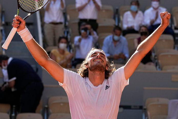 Stefanos Tsitsipas is dolblij met het bereiken van zijn eerste grandslamfinale.