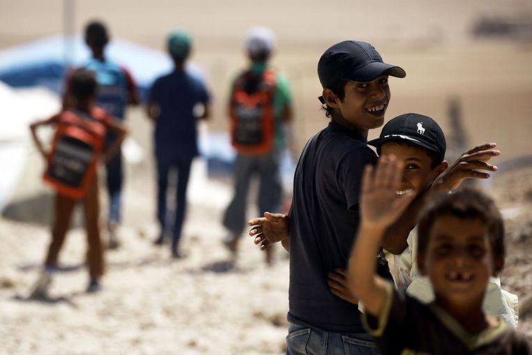 Archiefbeeld - Weeskinderen die uit Syrische bolwerken (zoals Raqqa) gehaald zijn, spelen in een kamp in de Syrische stad Ain Issa.