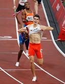 Feest bij Polen na de overwinning. In de achtergrond finisht Ramsey Angela namens Nederland als vierde.