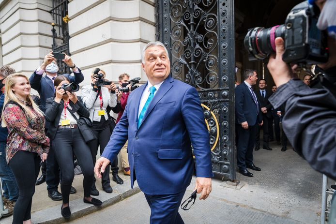 De Hongaarse premier Viktor Orbán tijdens een bezoek aan Londen in mei van dit jaar