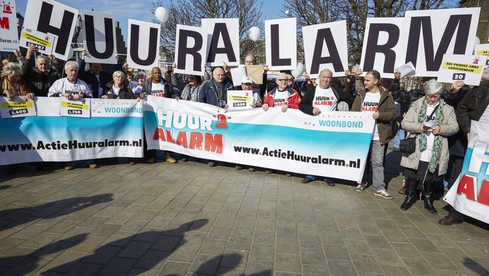 Leden van de Woonbond demonstreerden vorig jaar ook al tegen de huurplannen van het kabinet.