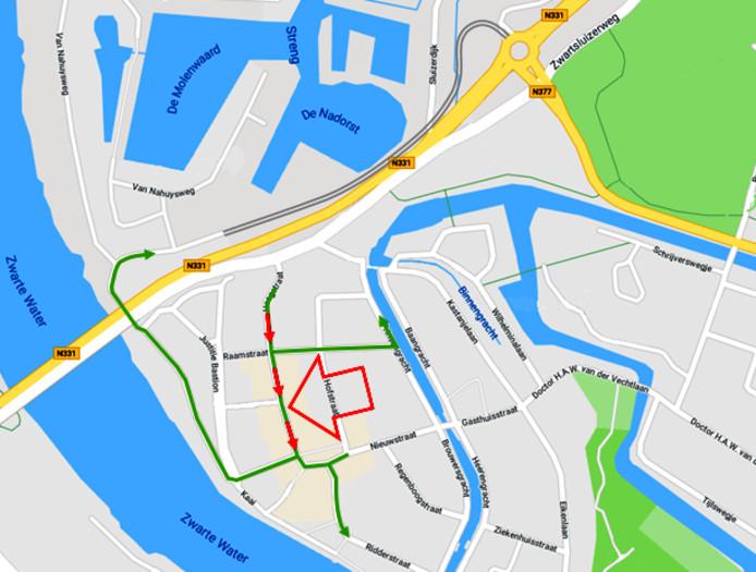 Variant 1, eenrichtingsverkeer gehele Hoogstraat en extra ontsluiting via nieuwe parallelweg.
