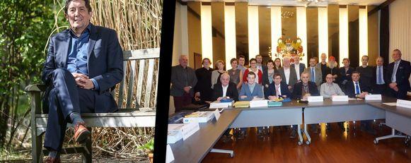 Niet voor het eerst moet gouverneur Herman Reynders (links) zich buigen over het gekibbel in de gemeenteraad (rechts) van Hamont-Achel.