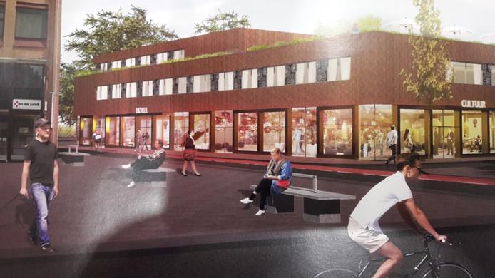Een artist impression van een mogelijk nieuw hotel met cultuurruimtes op het Plantsoen in Wageningen.