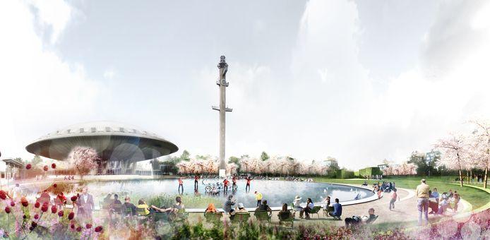 Een impressie van het park rond het Evoluon in Eindhoven zoals Hurks/Foolen & Reijs dat willen realiseren.
