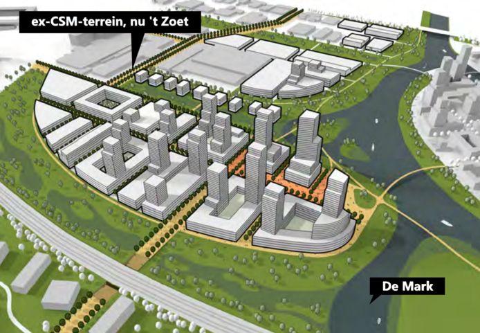 Toekomstbeeld van het terrein van de voormalige CSM-suikerfabriek in Breda, 't Zoet.