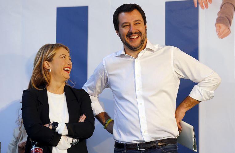 Meloni en Matteo Salvini. Beeld REUTERS
