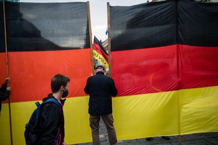 Betogers bij een rally van de AfD in Altenburg, Duitsland, in juli 2020. Beeld EPA