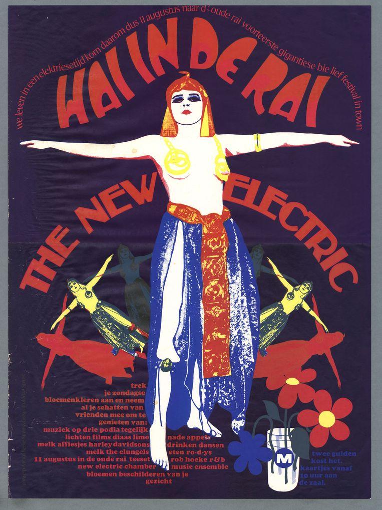 Het affiche voor het feest Hai in de Rai, ontworpen door Anthon Beeke.   Beeld Geheugen van Nederland