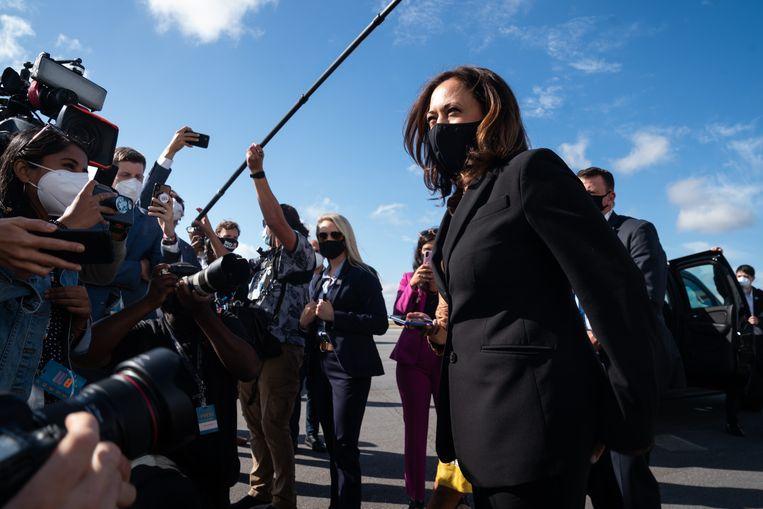 Kamala Harris op een bijeenkomst in oktober. Beeld AFP