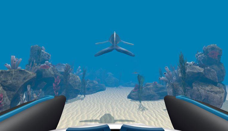 De virtuele walvis van VR-bedrijf Oncomfort brengt patiënten naar de bodem van de oceaan waardoor ze pijn vergeten. Beeld RV