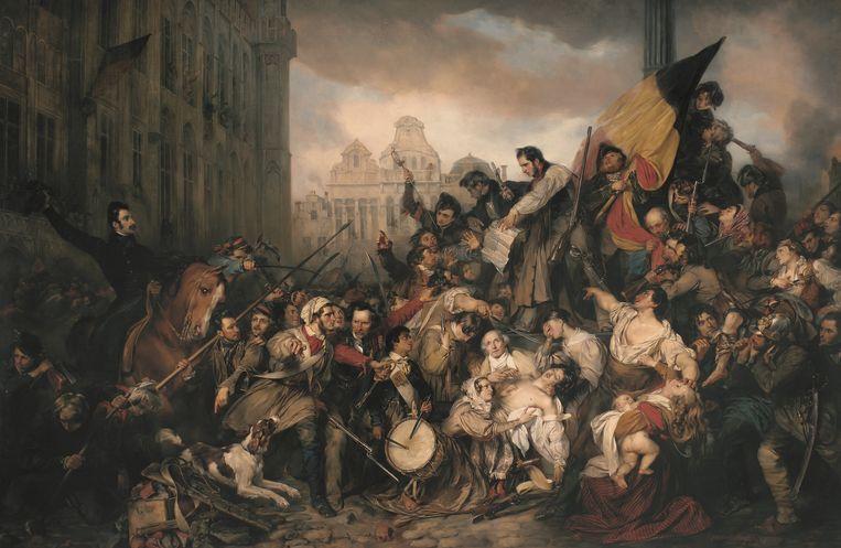 Gustaaf Wappers: Tafereel van de septemberdagen 1830 op de Grote Markt te Brussel, 1830. Koninklijke Musea voor schone kunsten van België, Brussel. Beeld KMSKB, Brussel/foto: J. Geleyns - Art Photography