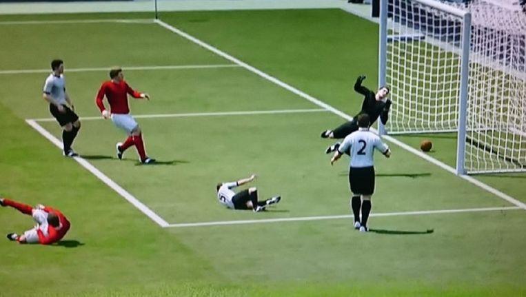 Een computersimulatie van de omstreden treffer van Geoff Hurst leverde volgens Sky Sports het definitieve bewijs. Beeld Sky Sports