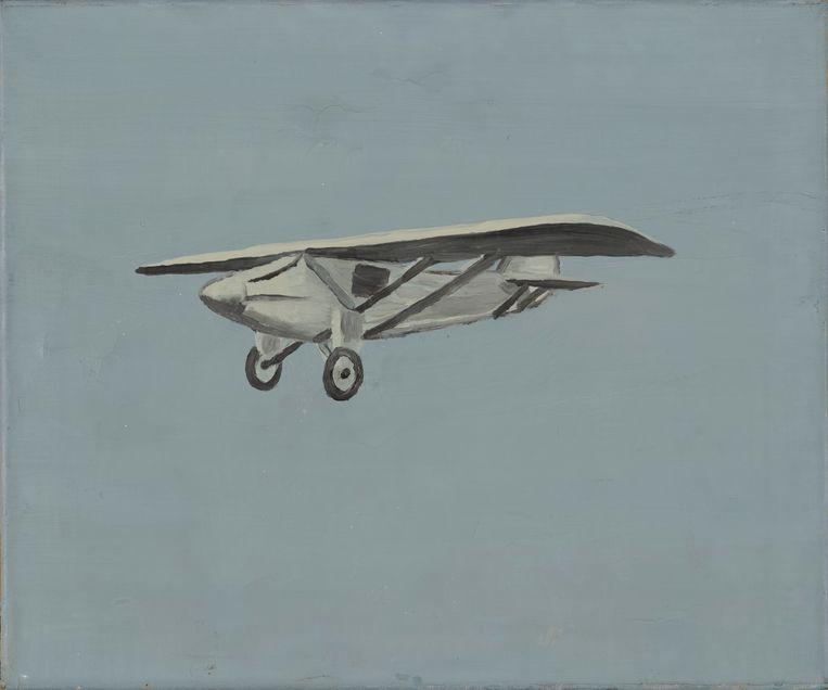 Luc Tuymans, 'Vliegtuigje' (1988). Oil on Canvas, 36,8 x 43,8 cm. Eind jaren 80 verkocht voor ongeveer 1.000 euro (en in 2005 bij Christies geveild voor 120.000 Britse pond; schattingsprijs was ongeveer de helft). Beeld Luc Tuymans