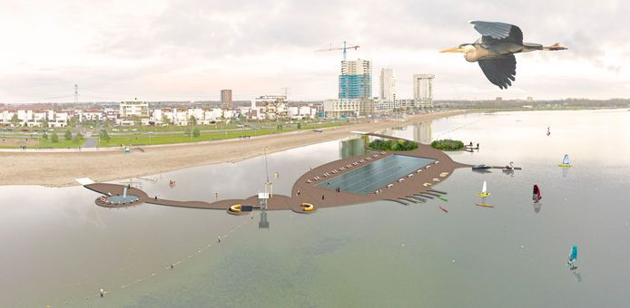 Zo zou het nieuwe buitenzwembad in de Zevenhuizerplas in Rotterdam-Nesselande eruit kunnen gaan zien.  De plannenmakers willen de wijk aantrekkelijker maken.