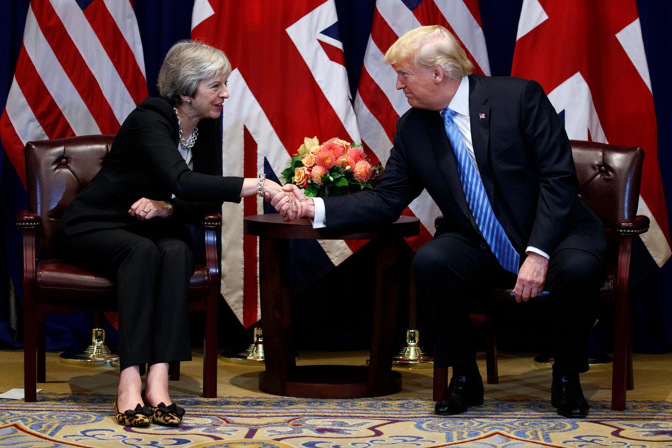 Een ontmoeting tussen president Donald Trump (rechts) en de Britse premier Theresa May in september 2018.