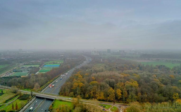 De A27 met rechts het natuurgebied Amelisweerd, bij Utrecht.  Beeld Foto Freek van den Bergh