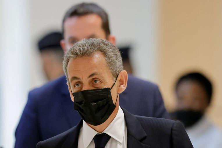Oud-president Nicolas Sarkozy tijdens een van de verhoren in de rechtszaak in juni 2021. Beeld Reuters