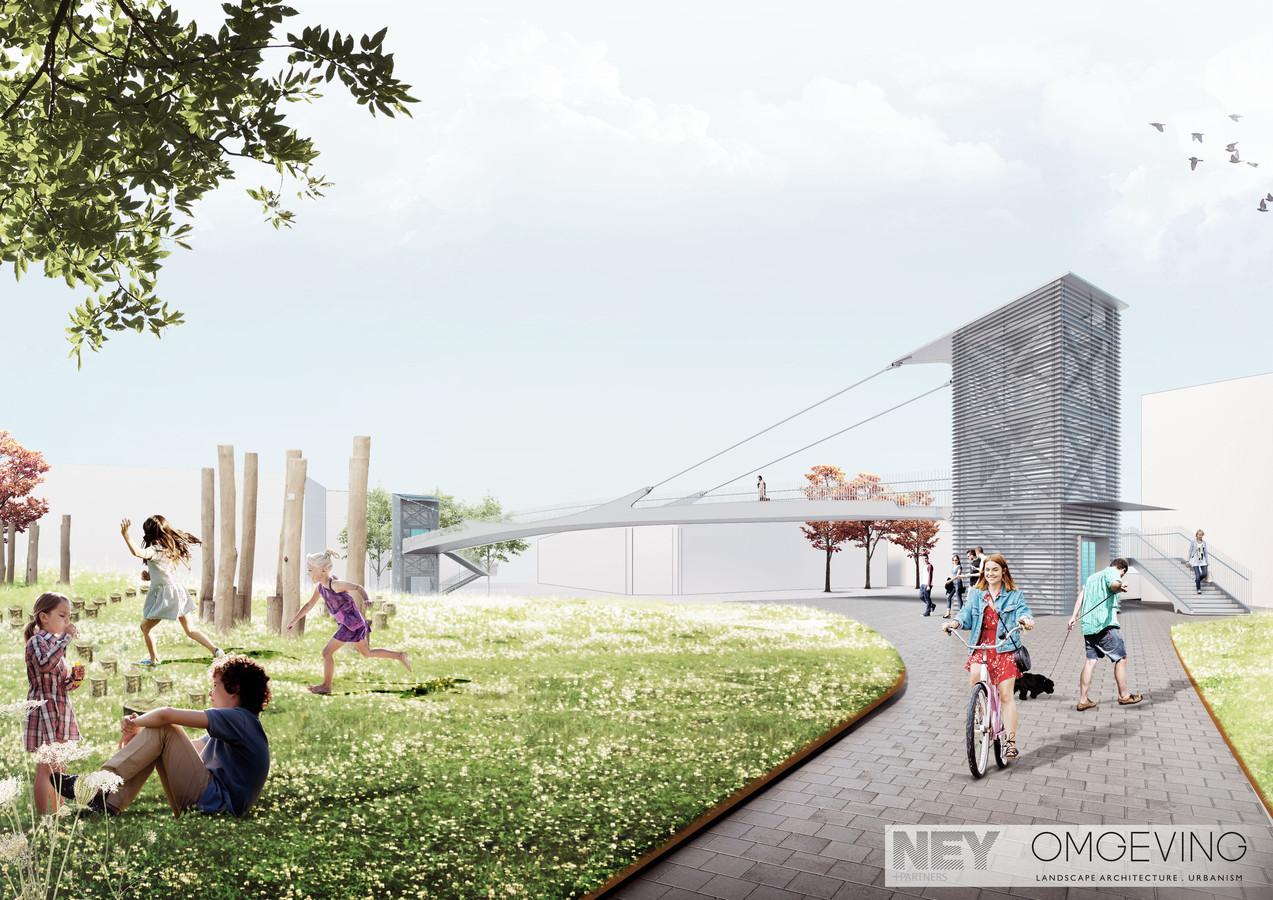 Aan de Reepbrug komt een nieuw stadspark, op de tip van het Buda-eiland.