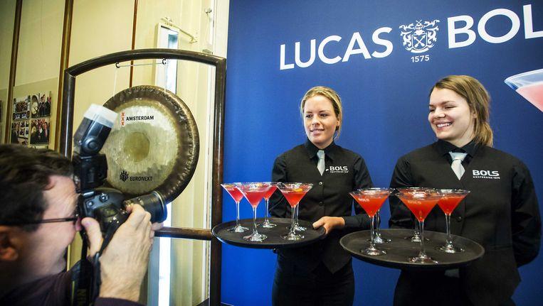 Drankjes tijdens de beursgang van het drankmerk Lucas Bols in februari op de beurs van Amsterdam. Beeld ANP