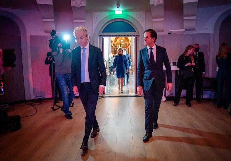 Geert Wilders (PVV) en Mark Rutte (VVD) voorafgaand aan het RTL Verkiezingsdebat 28 februari.  Beeld ANP