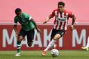 Donyell Malen vorig seizoen. Hij lijkt niet meer in actie te komen voor PSV omdat Borussia Dortmund hem wil overnemen.