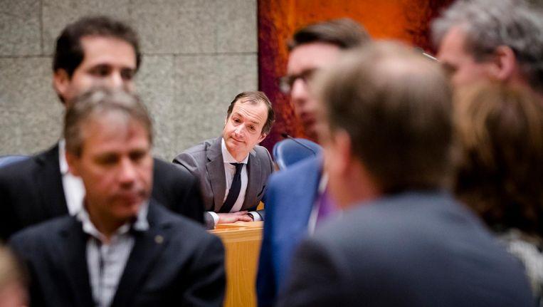 Staatssecretaris Eric Wiebes van Financiën tijdens het debat over de Belastingdienst in februari 2017. Beeld null