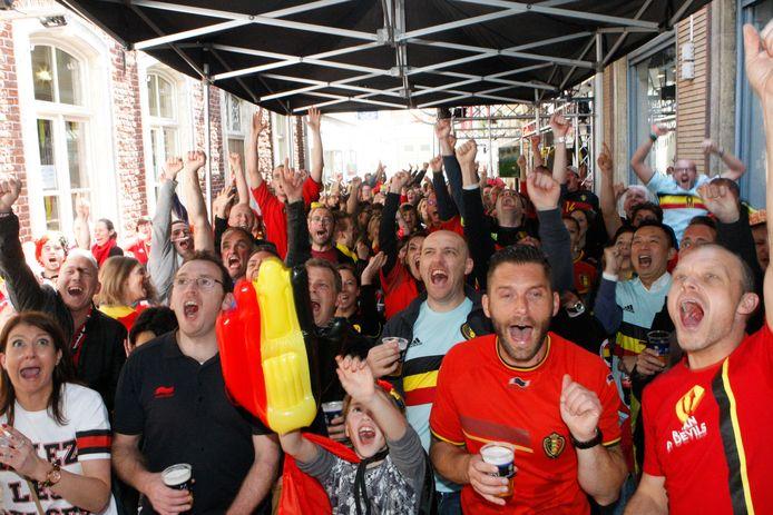 Tijdens het vorige EK zond men de wedstrijden van de Belgen uit op een groot scherm.